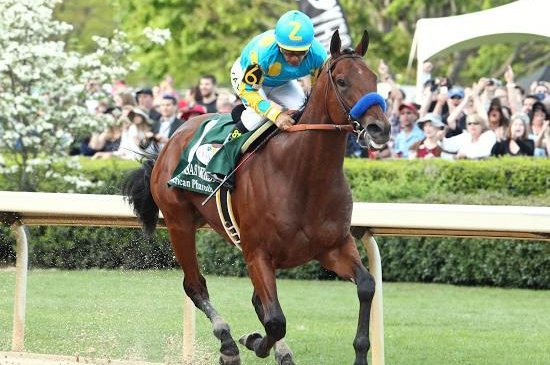 American Pharoah, seen winning the Arkansas Derby for fun, is the morning-line favorite for Saturday's Kentucky Derby. (Oaklawn Park photo)