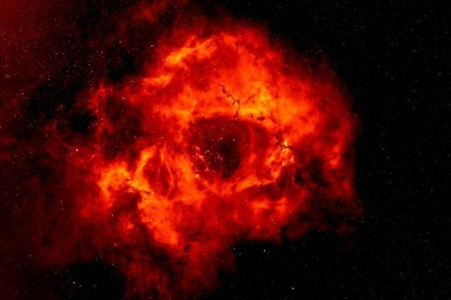 New research showed the Rosette Nebula is shaped more like a thin disk than than a thick donut. Photo by Nick Wright/Keele University