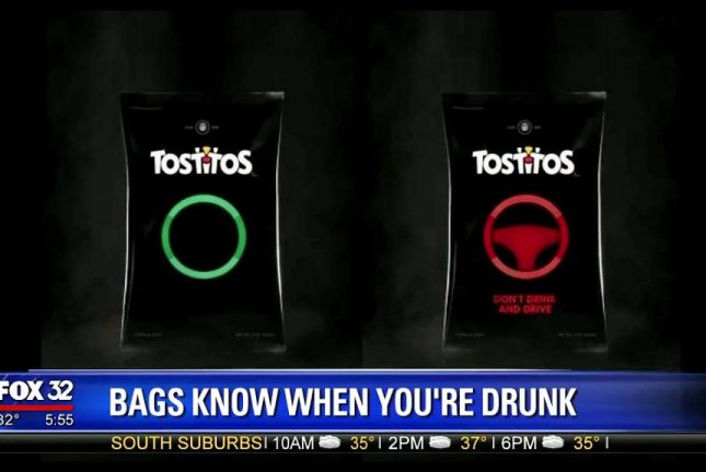A Tostitos bag unveiled by Frito-Lay can detect when someone has been drinking. Screenshot: Jenny Milkowski Fox 32 Chicago/Facebook