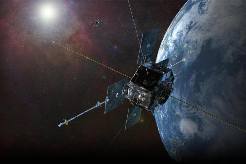 An artistic rendering shows NASA's Van Allen Probes orbiting Earth. Photo by NASA/Goddard Space Flight Center