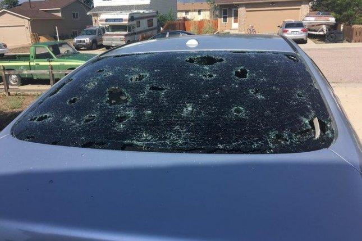 Baseball-size hailstones destroyed car windows in June 2018 near Colorado Springs. Photo courtesy of Amanda Schnetzler