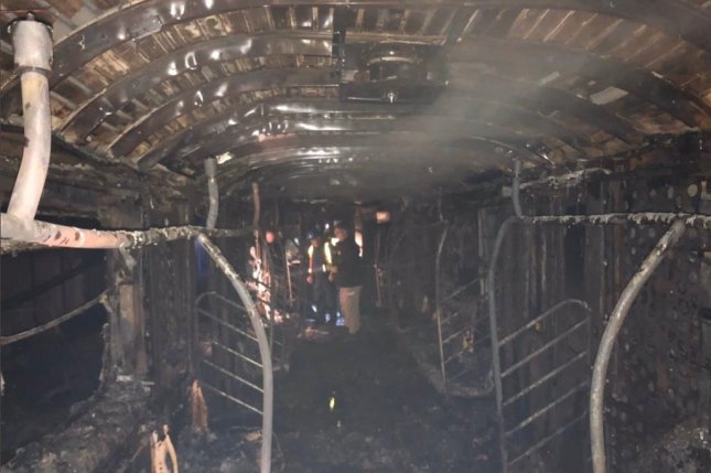 A fire on a New York City subway car, seen here destroyed in the fire, killed one person and injured at least 16, several of them firefighters, on Friday. Photo courtesy of FDNY/Twitter