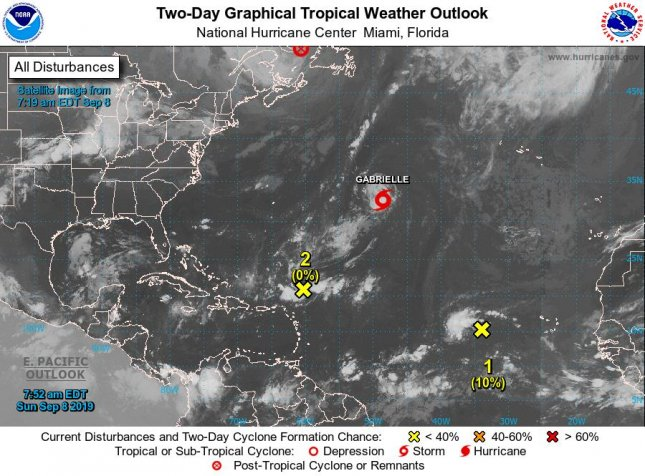 Satellite imagery shows the locations of Tropical Storm Gabrielle as well as Post-Tropical Cyclone Dorian (top center) and two disturbances with little chance of becoming tropical storms. Image courtesy NOAA