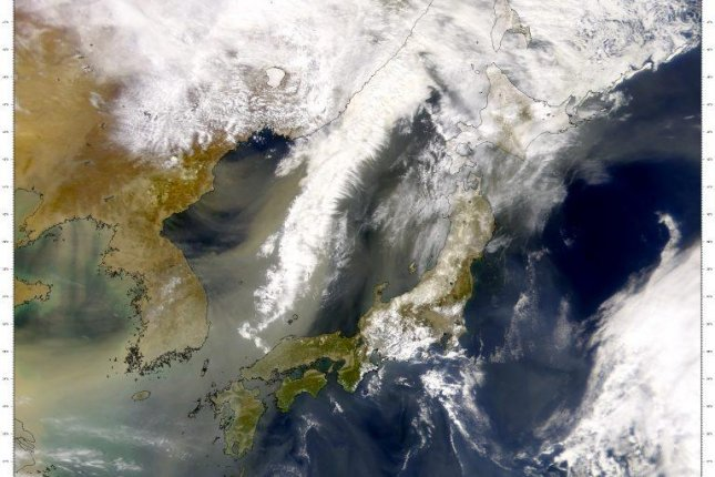A satellite image shows plumes of dust blowing east from East Asia toward the Pacific Ocean. Photo bySeaWiFS Project, NASA/Goddard Space Flight Center, and ORBIMAGE