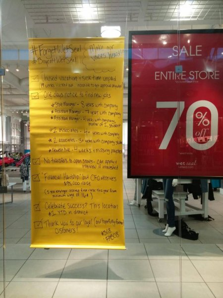 A sign posted to a former Wet Seal location in Washington. View the full size image on: IMGUR
