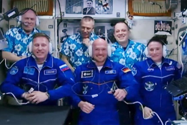 Flight Engineers Sergey Prokopyev, Alexander Gerst and Serena Auñón-Chancellor, from left to right in the front, joined Expedition 56 and the International Space Station on Friday morning. They were welcomed by Flight Engineer Oleg Artemyev, Commander Drew Feustel and Flight Engineer Ricky Arnold, from left to right in the back. Photo by NASA TV