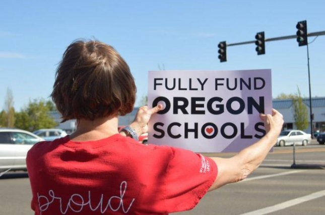 Hundreds of teachers throughout the state of Oregon will participate in a walkout Wednesday to rally for increased school funding. Photo courtesy Oregon Education Association/Twitter
