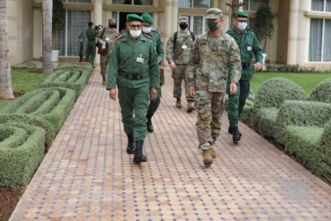 Moroccan army Gen. Belkhir Farouk, left, and U.S. Forces Africa Maj. Gen. Andrew Rohling met in Agadir, Morocco, last week, ahead of the announced consolidation of U.S. Army commands in Africa and Europe on Friday. Photo courtesy of U. S. Army Africa