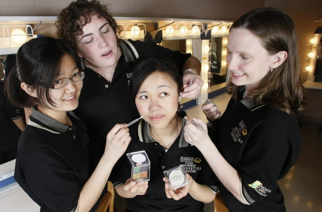 Team Ceres designed a corn-based line of cosmetics for environmentally conscious people. Team members are, from left, Soo Yee Kuah, Michaelann Kresel, Shengjie Xu and Jessica Brazelton. Credit: Purdue Agricultural Communication/Tom Campbell)