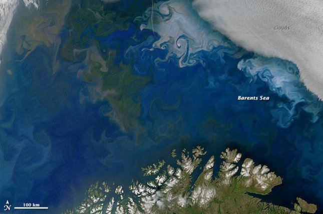 Phytoplankton blooms seen from space. Photo by NASA/Earth Observatory