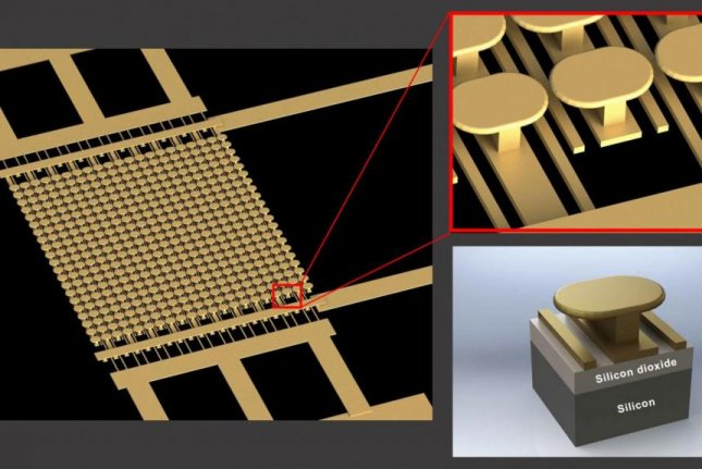 A diagram reveals the makeup of a new semiconductor-free microelectronic device, empowered by metamaterials. Photo by UC San Diego Applied Electromagnetics Group