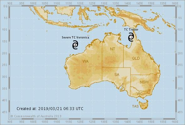 Australia's Northern Territory is under a state of emergency as two cyclones could make landfall in days. Photo courtesy Australian Government Bureau of Meteorology