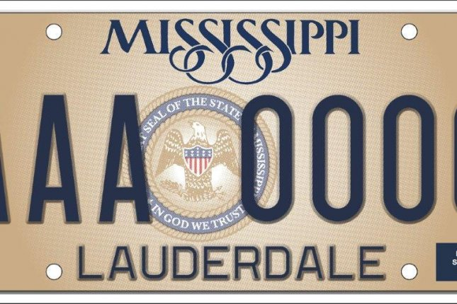 The standard Mississippi license plate shows the state seal containing the phrase In God We Trust. Image courtesy of Mississippi Department of Revenue