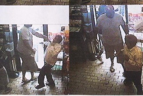 Stills of an alleged robbery involving Michael Brown, distributed by Ferguson police. (via Twitter)