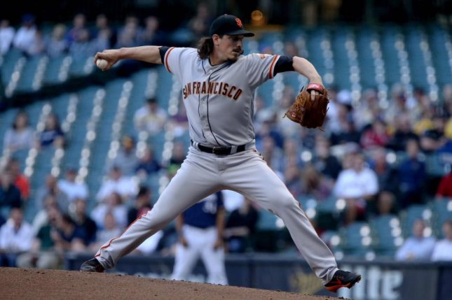 Jeff Samardzija didn't get rattled early on and struck out 10 in the Giants victory over Milwaukee. Photo courtesy San Francisco Giants/Twitter