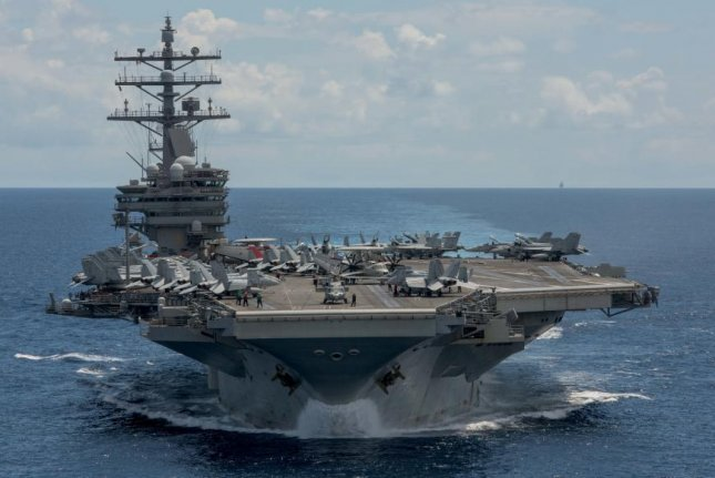 USS Ronald Reagan is pictured on patrol in the Western Pacific. U.S. Navy photo