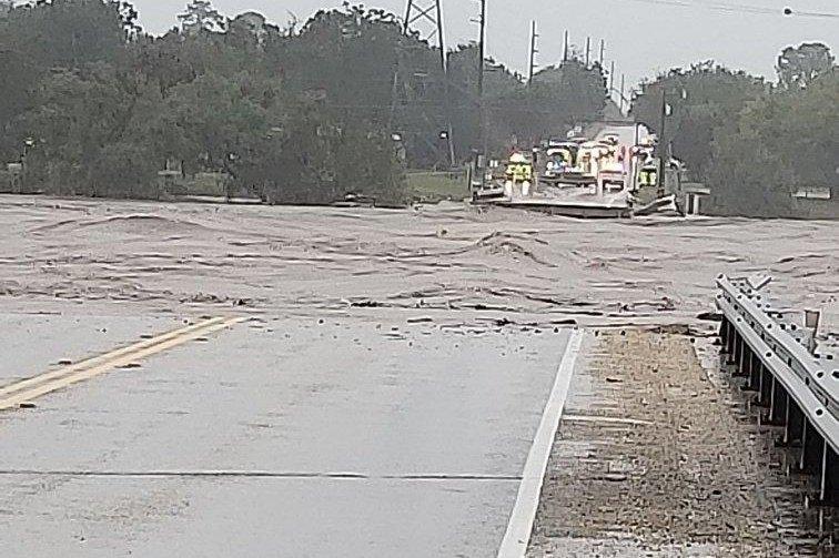 The RM 2900 bridge in Texas collapsed Tuesday morning as the Llano River rose near 40 feet amid heavy rains and sever flooding. Photo courtesy TxDOT Austin/Twitter