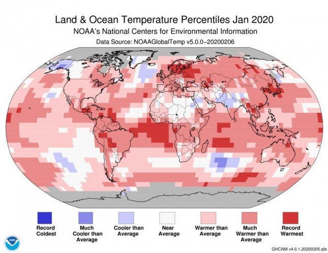 January 2020 was the hottest January on record. Photo courtesy of NOAA/Twitter