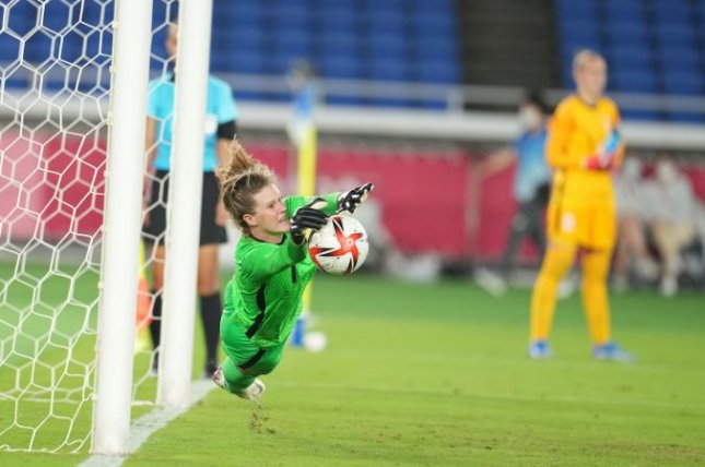 The United States' goalkeeper, Alyssa Naeher, makes a save during a penalty kick against the Netherlands during the Summer Olympics in Tokyo on Friday. Photo courtesy of U.S. Women's National Team/Twitter