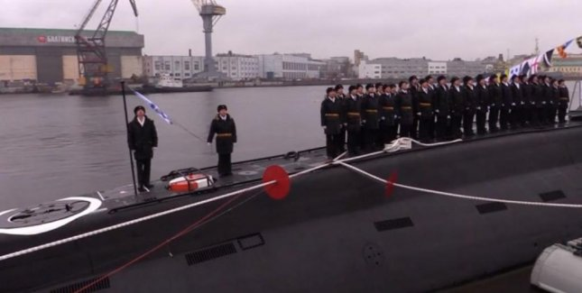 The Russian Navy holds a ceremony for the delivery of it's new stealth submarine, the Kolpino, in St. Petersburg last week. Screenshot courtesy of Ruptly