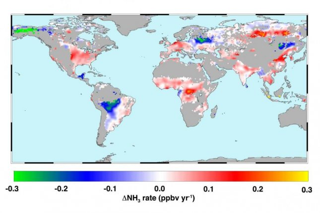 Researchers at the University of Maryland found in a study that atmospheric ammonia concentrations have increased during the last decade and a half. On the map, the warmer colors show where atmospheric ammonia concentrations have increased during that time. Photo by Juying Warner/GRL