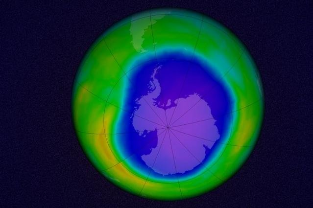 A rendering shows the Antarctic ozone hole at its peak last fall, based on measurements made on October 22, 2015. Photo by NASA/Goddard Space Flight Center