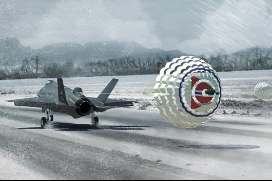 An artist's image of an F-35 landing on an icy runway with the help of a drogue parachute system. Norwegian Ministry of Defense image.