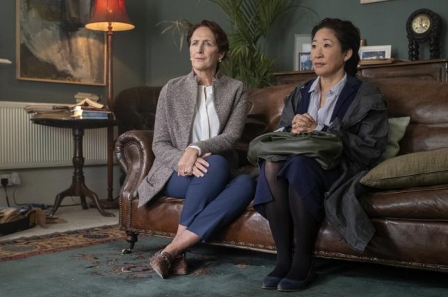 Fiona Shaw (L) and Sandra Oh in a scene from Killing Eve. Season 2 of the show is to begin Sunday. Photo courtesy of BBC America