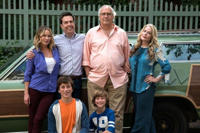 Chevy Chase, Beverly D'Angelo, Ed Helms, Christina Applegate, Skyler Gisondo and Steele Stebbins in 'Vacation.' Photo by Warner Bros.