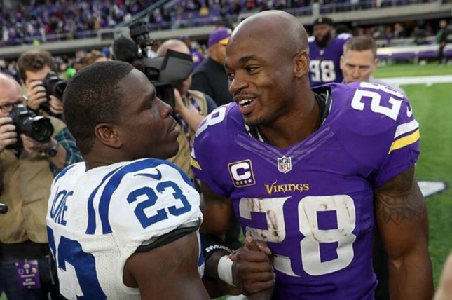 Former Minnesota Vikings running back Adrian Peterson is unlikely to sign with another franchise until after the 2017 NFL Draft, according to reports. Photo courtesy of Minnesota Vikings/Instagram