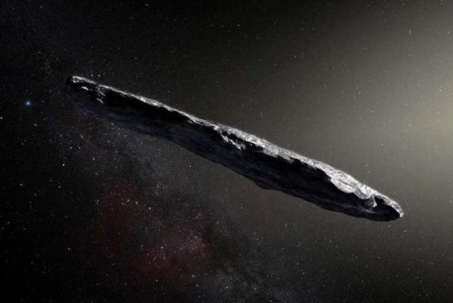 An artist's rendering shows the oblong shape of 'Oumuamua