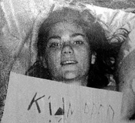 Emory University student Barbara Jean Mackle, 20, was kidnapped and held for ransom while buried in a coffin in 1968. Gary Steven Krist and a female accomplice were arrested soon after a ransom was paid and Mackle rescued. Krist took this photograph showing Mackle in her coffin and used it as part of his ransom note. The FBI used the image as evidence in the criminal case against him.