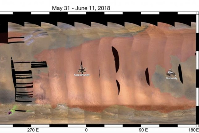 The dust storm on Mars continues to grow. As of June 14, it covered nearly a quarter of the planet. Photo by NASA/JPL-Caltech/MSSS
