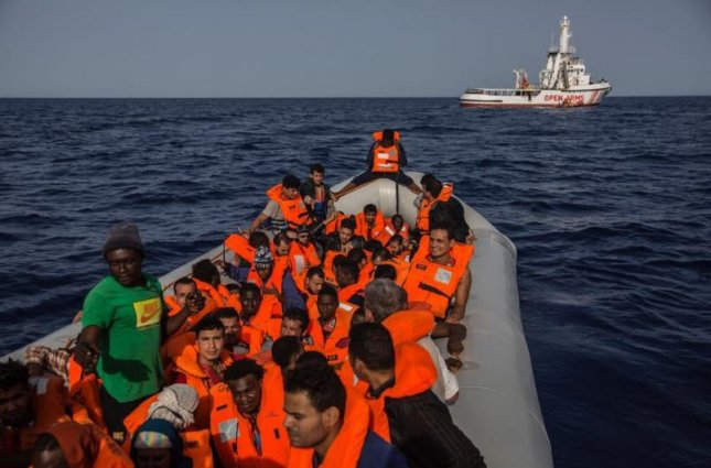 After being refused in Italy and Malta, the NGO rescue vessel Proactiva Open Arms headed to Spain on Saturday to dock 60 immigrants rescued off the coast of Libya. Photo courtesy Proactiva Open Arms/Twitter