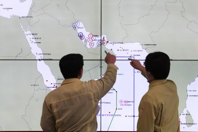 Maritime ministry officials check the locations of South Korean vessels in the Strait of Hormuz at the ministry's situation room in Sejong. South Korea announced on Tuesday it would be sending forces to the Strait. Photo by Yonhap