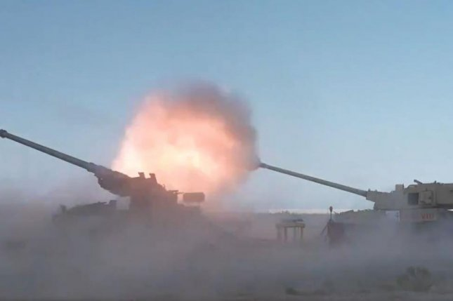 The Pentagon on Tuesday released footage of an Army howitzer firing an Air Force hypervelocity projectile at a surrogate Russian cruise missile and destroying it. Photo by DoD CTO/Twitter