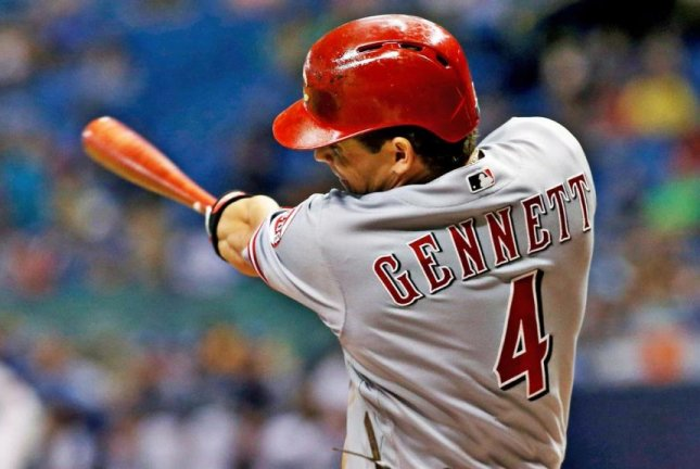Cincinnati Reds second baseman Scooter Gennett collected at least four hits in a game for the second time this month as the Reds defeated the Washington Nationals 6-2 on Sunday. Photo courtesy of Cincinnati Reds/Twitter