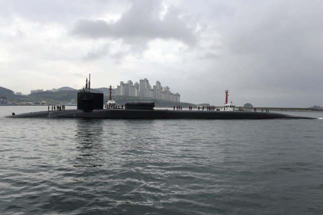 An Ohio-class guided missile submarine, the USS Michigan, off Busan, Republic of Korea. U.S. Navy photo