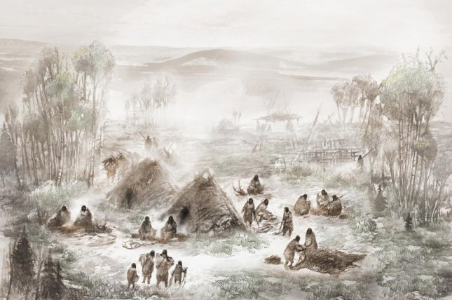 An artistic rendering of the Sun River camp, home to a newly discovered population of Native Alaskans. Photo by Eric S. Carlson in collaboration with Ben A. Potter