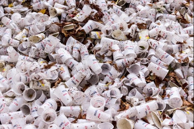 Tuesday's report said single-use plastics account for the majority of plastic thrown away the world over: more than 130 million metric tons in 2019.File Photo by Pixabay/meineresterampe