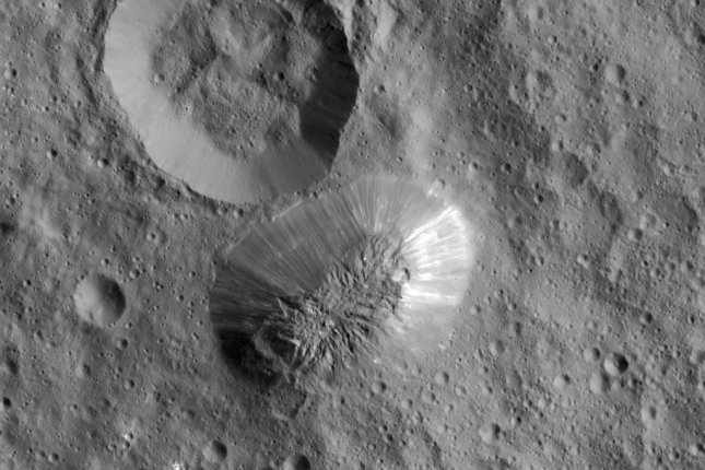 Ceres' solo cryovolcano, Ahuna Mons, as seen from NASA's Dawn spacecraft. Photo by NASA