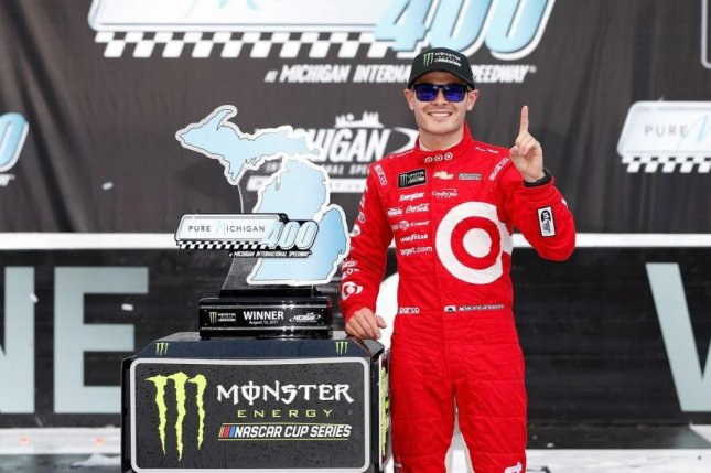 Kyle Larson claimed his third consecutive win at Michigan International Speedway on Sunday and his third win of the season. Photo courtesy of Pure Michigan 400/Twitter