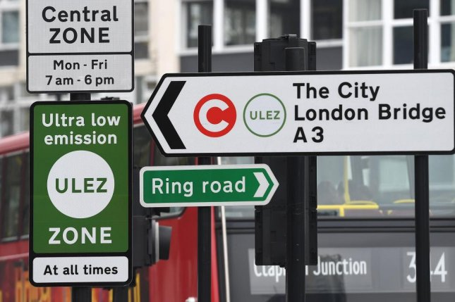 A ULEZ (ultra-low emission zone) sign in London Monday directed motorists as authorities started to enforce the anti-pollution measure in the city. Photo by Andy Rain/EPA-EFE