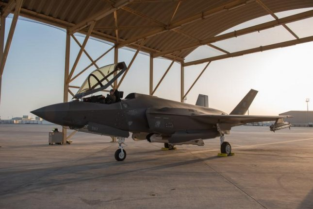 An F-35A Lightning II pilot sits in his aircraft before a mission on April 26 at Al Dhafra Air Base, United Arab Emirates. Photo by Staff Sgt. Chris Thornbury/U.S. Air Force