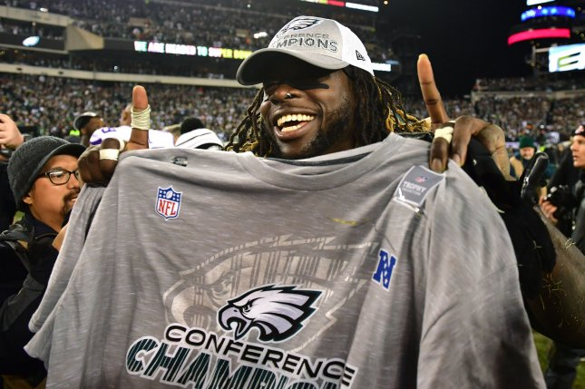 Philadelphia Eagles running back Jay Ajayi celebrates after the Eagles defeated the Minnesota Vikings 38-7 to win the NFC Championship at Lincoln Financial Field in Philadelphia on January 21, 2018. The Eagles will face the New England Patriots in Super Bowl LII. Photo by Kevin Dietsch/UPI