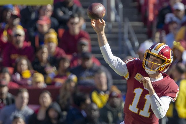 Washington Redskins quarterback Alex Smith passes the ball against the Atlanta Falcons in the first quarter on November 4 at FedEx Field in Landover, Md. Photo by Tasos Katopodis/UPI