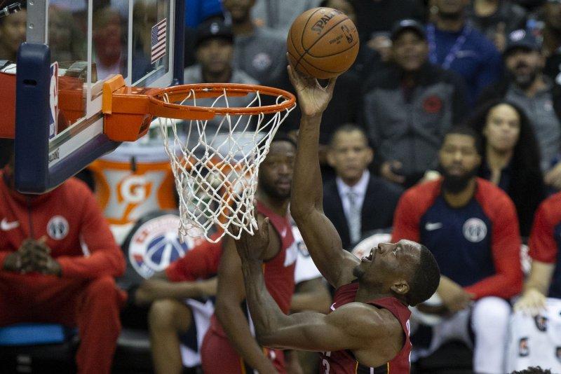 Miami Heat center Bam Adebayo (13) scored a career-high 22 points against the Phoenix Suns on Friday in Phoenix. Photo by Alex Edelman/UPI