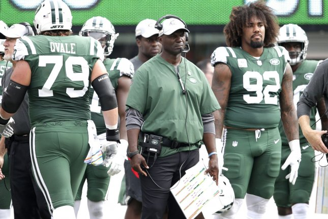 New York Jets head coach Todd Bowles stands on the sideline against the Denver Broncos on October 7 at MetLife Stadium in East Rutherford, New Jersey. Photo by John Angelillo/UPI