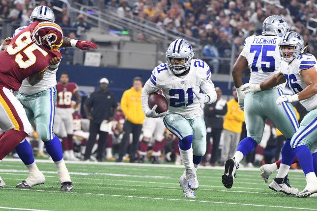 Dallas Cowboys running back Ezekiel Elliott (21) has led the league in rushing in two of his last three seasons. File Photo by Ian Halperin/UPI