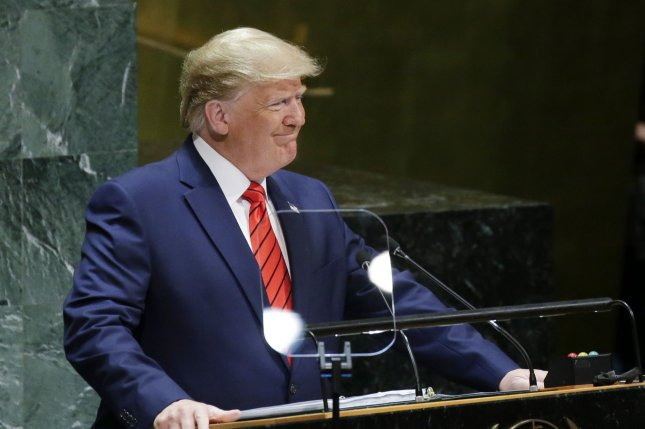 President Donald Trump speaks Tuesday at the 74th General Debate at the United Nations General Assembly at United Nations Headquarters in New York City. Photo by John Angelillo/UPI